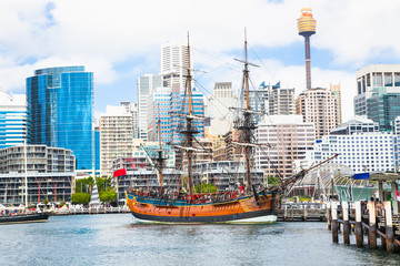 City scape of Darling Harbour in Sydney, Australia.