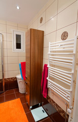 View for modern bathroom furniture and heater side