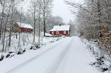 Winter road to Swedish village