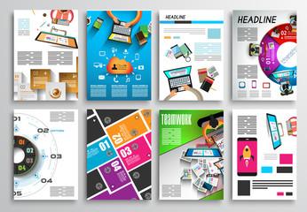 Set of Flyer Design, Infographics. Brochure Designs, Technology