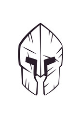 spartan helmet with scratches front view vector illustration