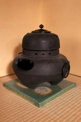 Antique japanese interior iron heater