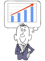 ビジネスマンが思い浮かべる上昇するグラフ
