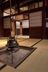 Traditional japanese home interior with hanging tea pot