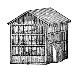 19th century engraving of a birdcage