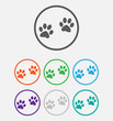Animal paw prints icons paw, web icon. vector