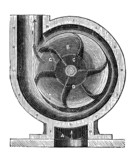 19th century engraving of a centrifugal pump poster