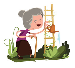 Old granny watering garden vector illustration cartoon character