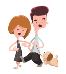 Couple walking their pet dog illustration cartoon character