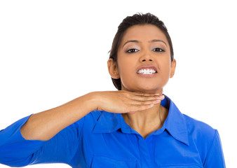 angry young woman gesturing with hand stop talking cut it out