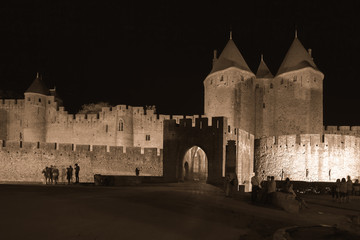 Castle of Carcassonne at night, France