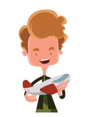 Boy holding model airplane vector illustration cartoon character