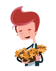 Flowers in hand vector illustration cartoon character