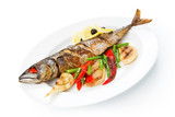 Restaurant food isolated - whole grilled mackerel