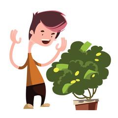 Money tree growing green vector illustration cartoon character