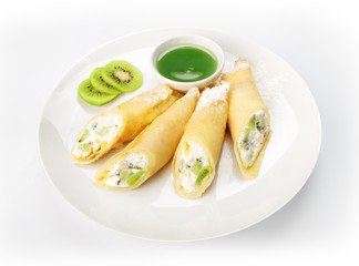 Restaurant food isolated - pancakes with cream cheese filling an