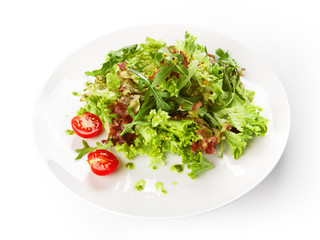 Restaurant food isolated - lettuce mix salad with cherry tomatoe