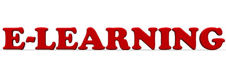 Дистанционное обучение (e-learning). Красное слово на белом фоне