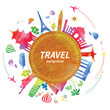 Travel background with watercolor effect. Vector.