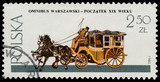 Stamp printed in Poland shows a carriage with a horse - 77175519