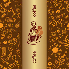 Coffee doodle background. Banner with bakery products.