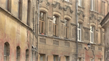 Vilnius. Old Town street. Bay window. Pan