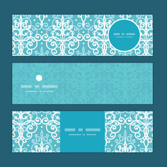 Vector light blue swirls damask horizontal banners set pattern