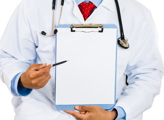 male doctor holding a blank clipboard pointing with pen