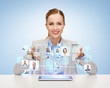 businesswoman with tablet pc and icons of contacts