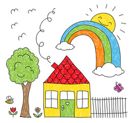 Kid's drawing of a house, rainbow and tree