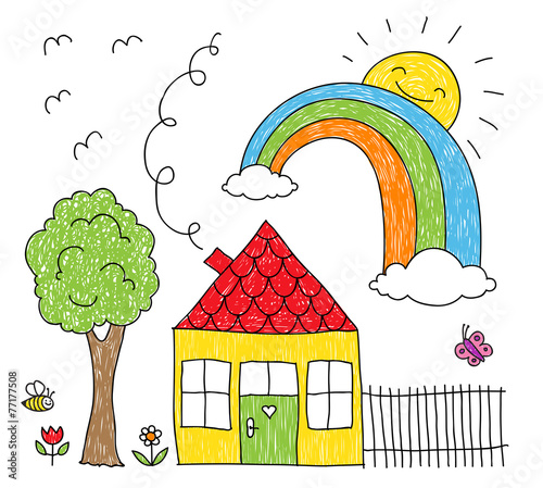 Kid's drawing of a house, rainbow and tree - 77177508