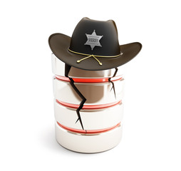 broken database, sheriff hat on a white background
