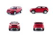 Red car toys set isolated on white background - 77178996