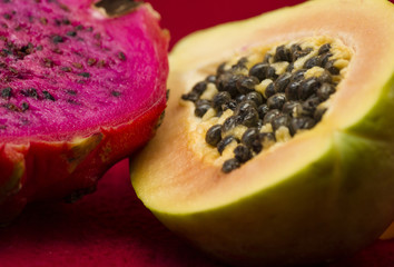 exotic fruit of dragonfruit and papaya