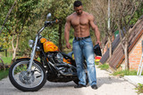 Attractive Bodybuilder And Motorcycle