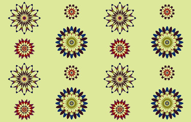 Geometric seamless pattern of flowers on a light green