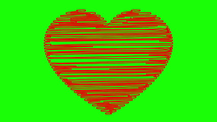 Hand drawn heart on a green background