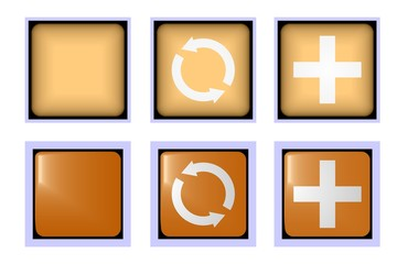 Square brown buttons reload and plus