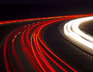 Headlight and tail light trails at night
