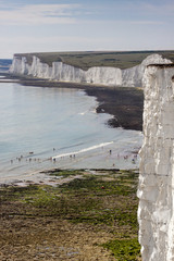 White Chalk Cliffs and shible beaches at the the Seven Sisters,