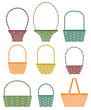 Stylized baskets isolated on white background - 77181795