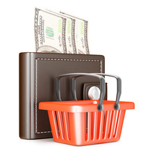 Wallet with banknotes and shopping basket