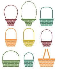 Stylized baskets isolated on white background