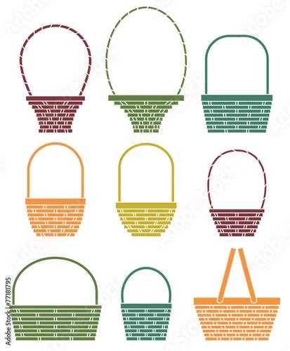 Stylized baskets isolated on white background - 77181795