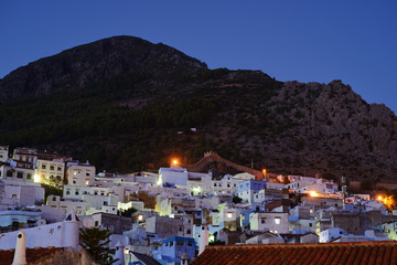 Morocco. Blue medina of Chefchaouen city at twilight