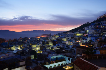 Morocco. Blue medina of Chefchaouen city at sunset