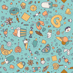 Vector seamless pattern with desserts