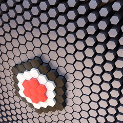 Abstract 3D technological background with hexagons.