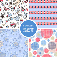 Vector set of four seamless background