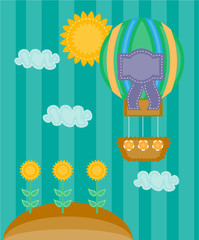 Colorful summer background, card with striped balloon and